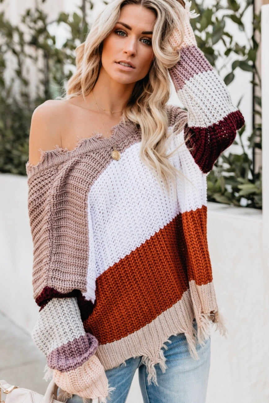 Mocha Striped Distressed Sweater