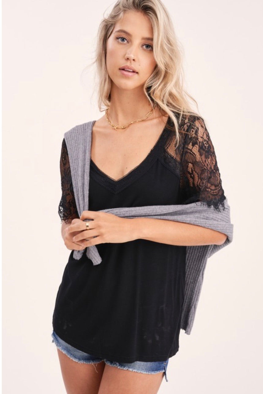 Lace Sleeve Casual Shirt