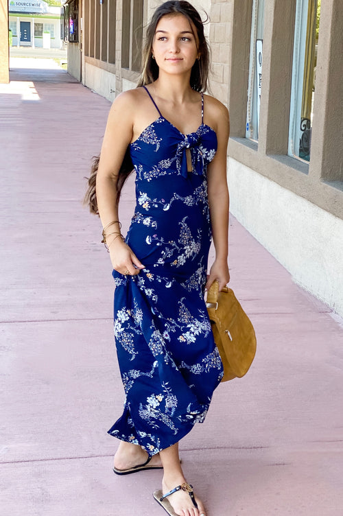 Navy Floral Front Tie Midi Dress