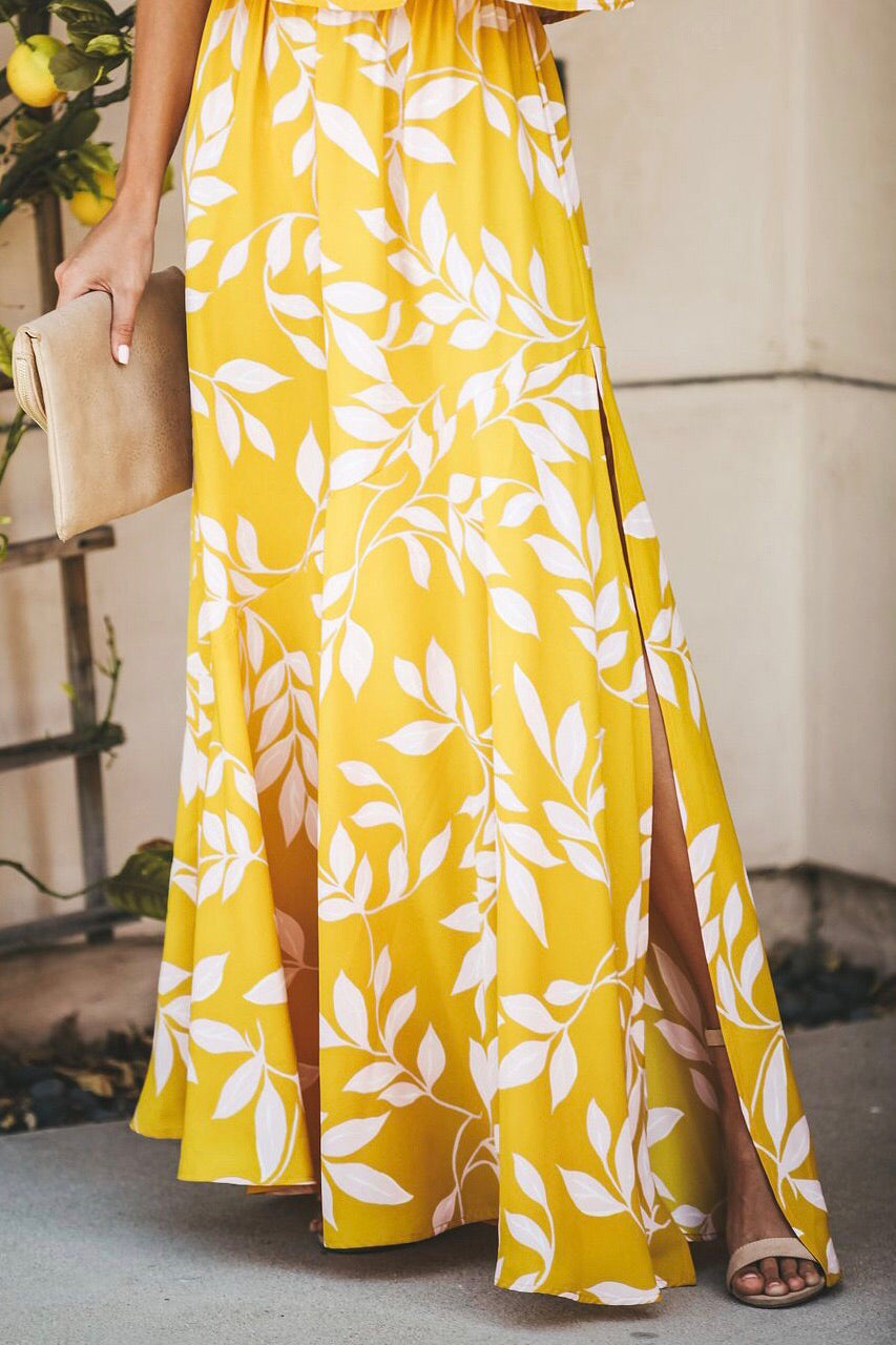 Summer Leaf Strapless Maxi