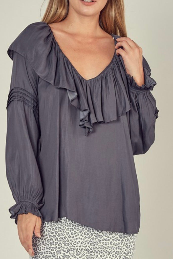 Ruffle V-Neck Satin Top