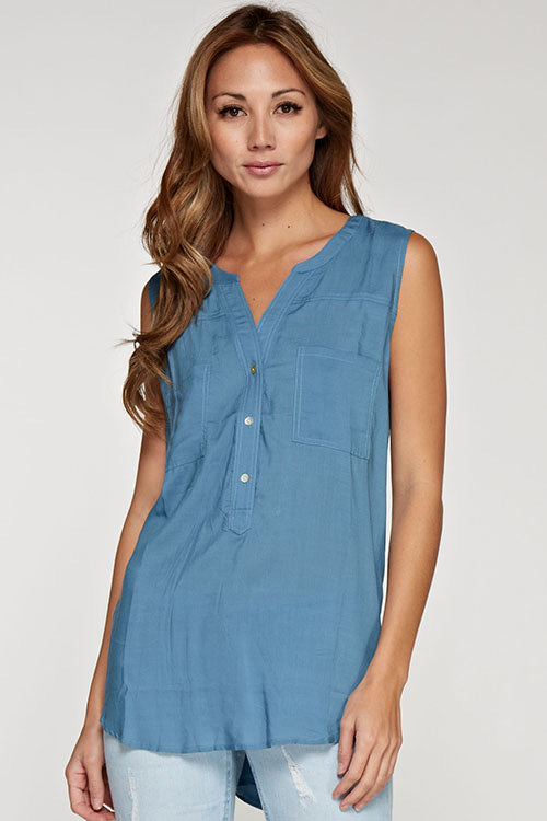 Sleeveless Slate Blue Pocketed Top