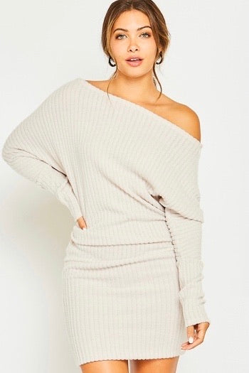 One Shoulder Sweater Dress