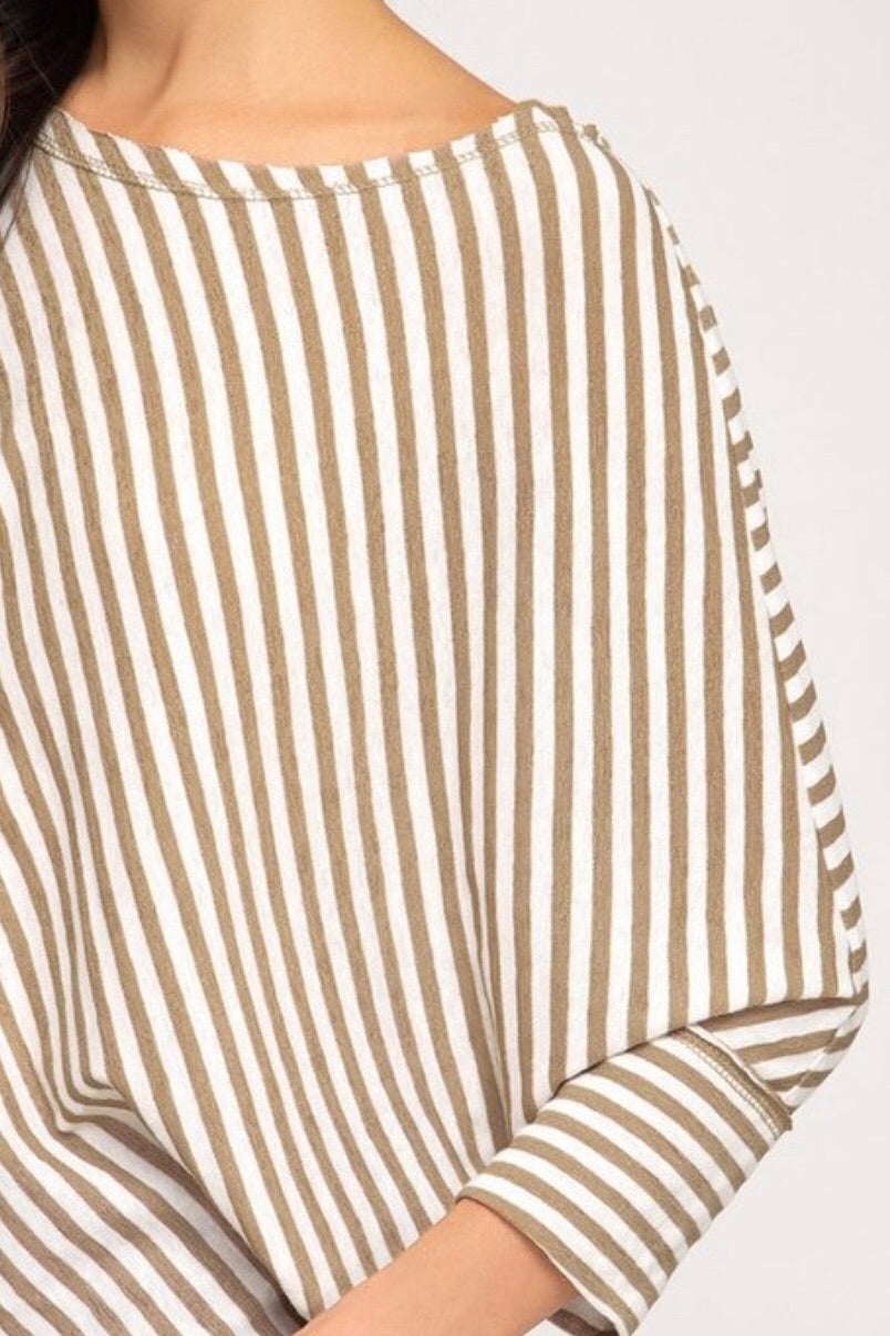 Batwing Oversized Striped Top