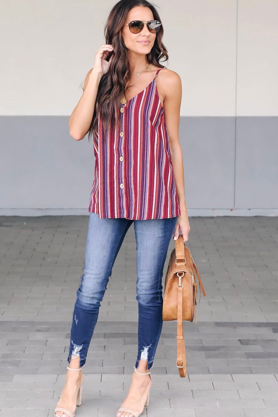 Striped Burgundy Tank Top