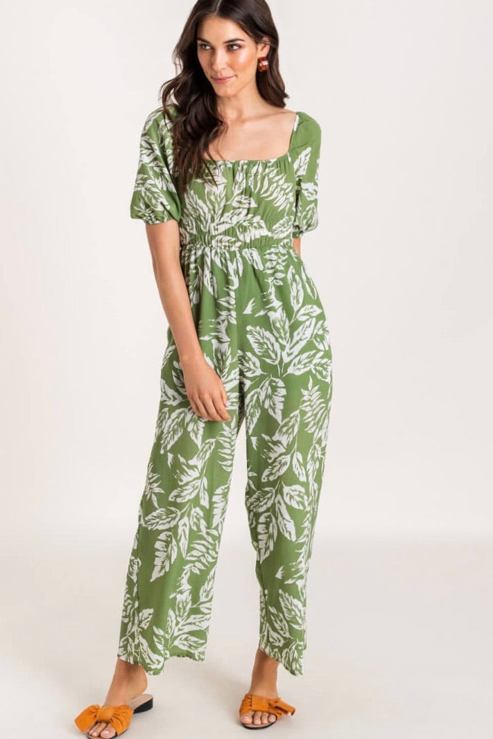 Green Leaf Print Jumpsuit