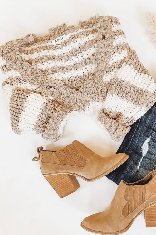 Striped Taupe and Ivory Sweater