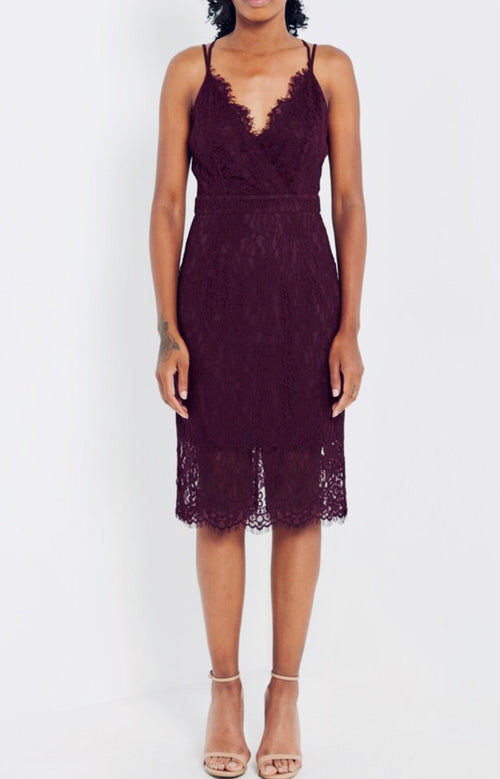 Wine Lace V-Neck Dress