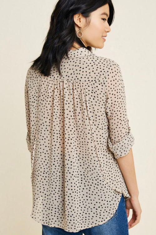 Polkadot Sheer Button Down Top