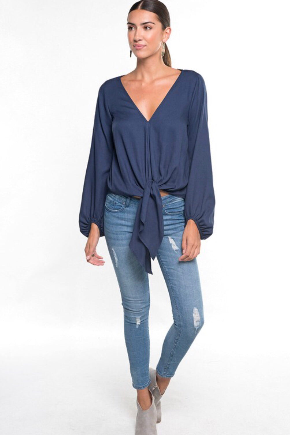 Solid Long Bishop Sleeve Front Tie Top