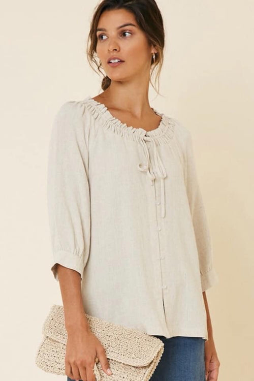 Linen Top With Gathered Neckline