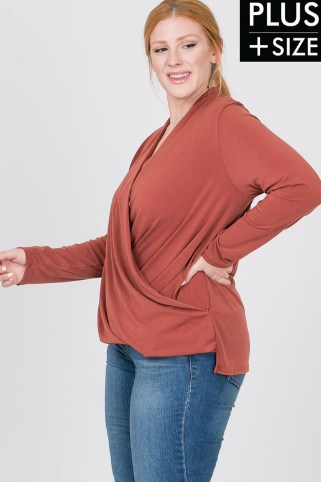 Surplice Long Sleeve Blouse (Plus Size)