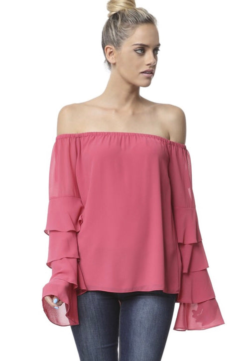 Off The Shoulder Tiered Sleeve Blouse