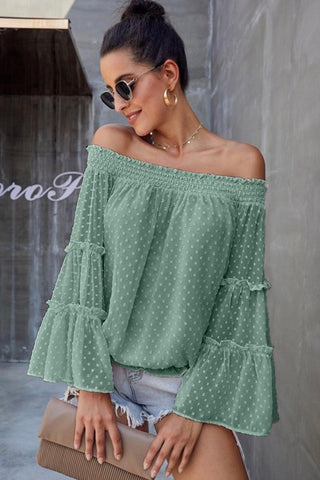 Off Shoulder Sheer Tie Front Top