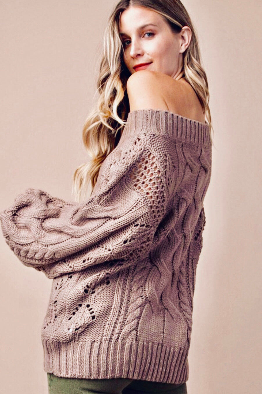 Balloon Sleeve Crochet Sweater