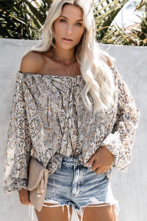 Printed Peasant Top With Tassel Front Ties