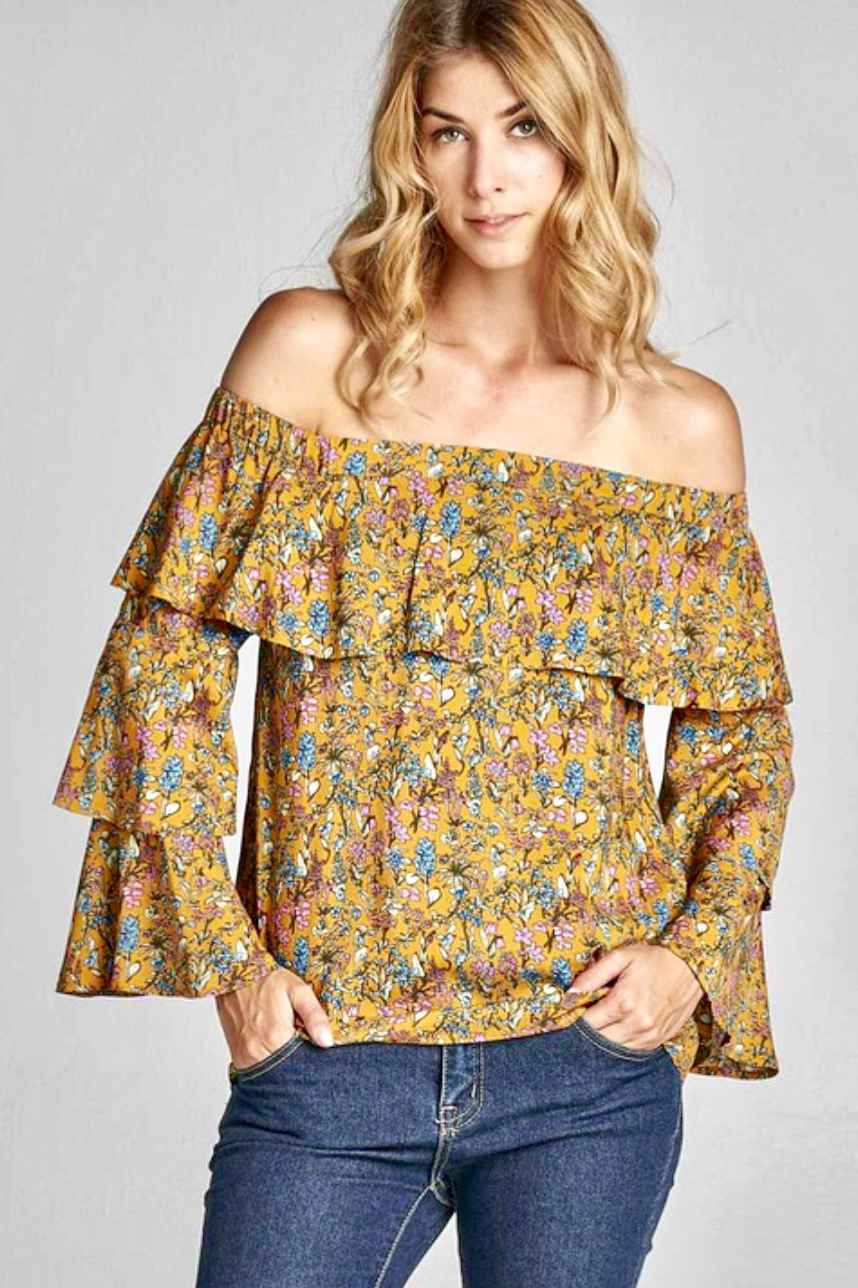 Off Shoulder Ruffle Bell Sleeve Top
