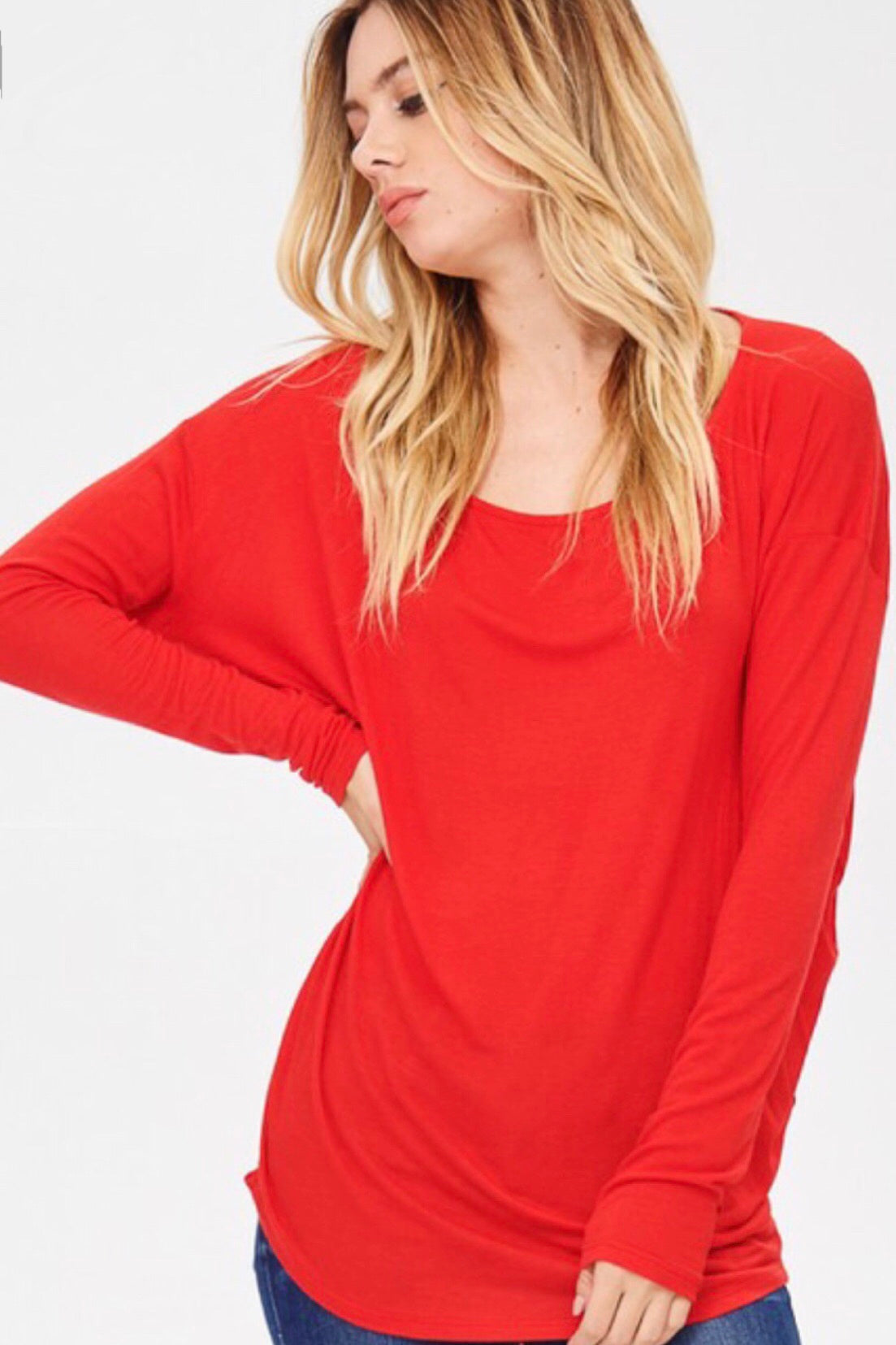 Red Lightweight Long Sleeve Basic