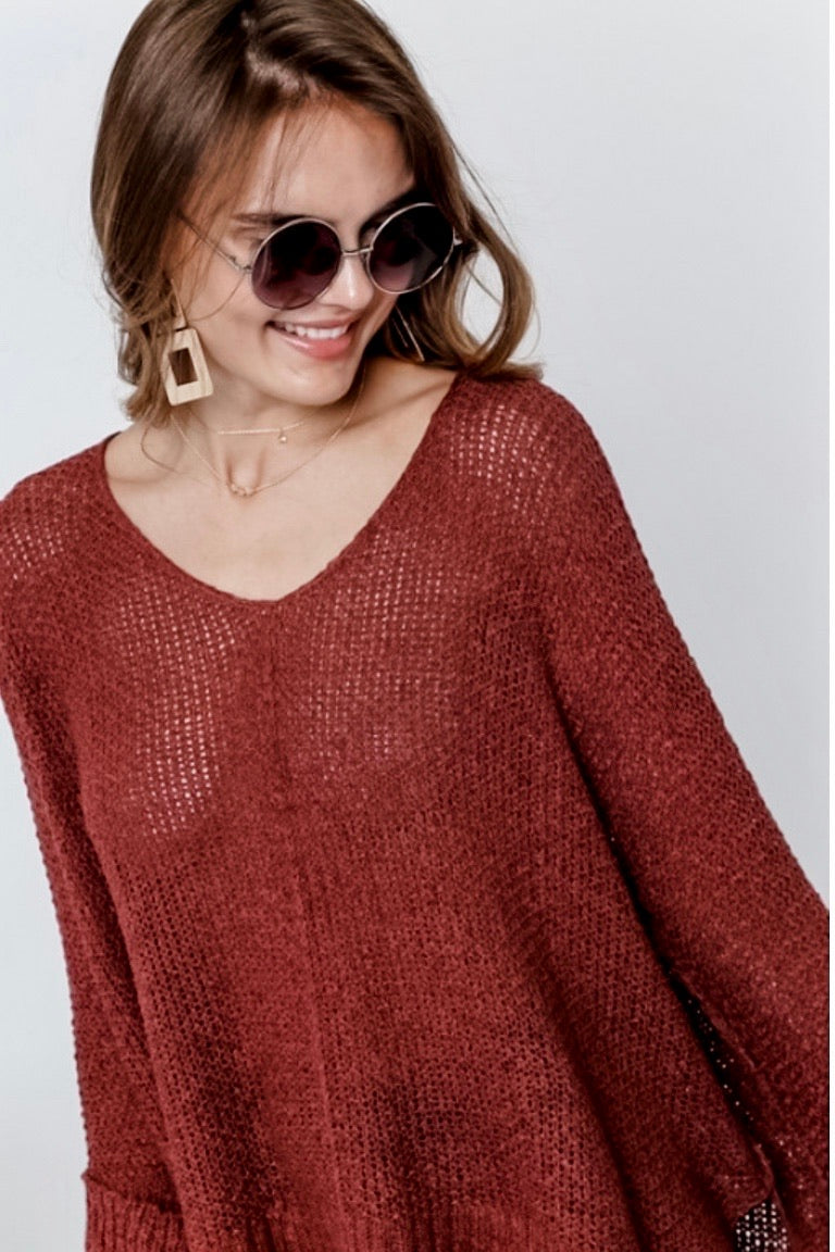 V-Neck Loose Knot Sweater Top