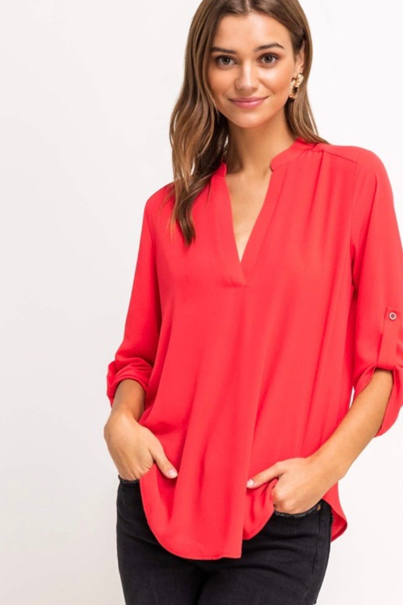 Quarter Sleeve V-Neck Blouse