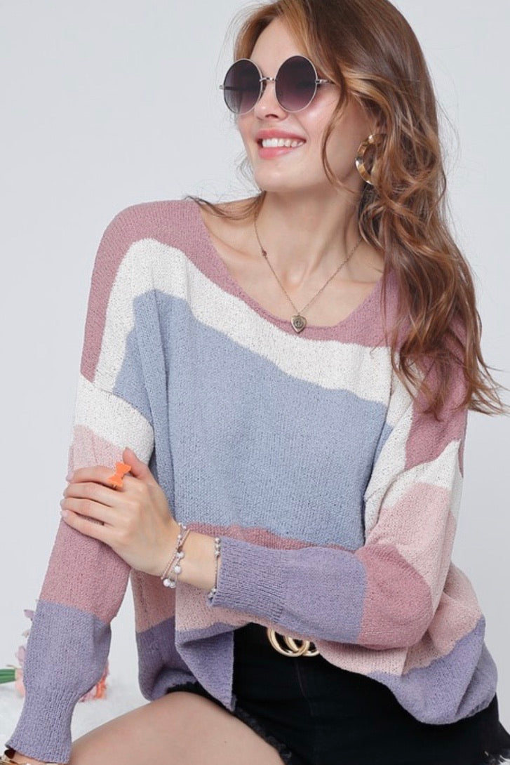 Multi Colored Knit Boat Neck Top