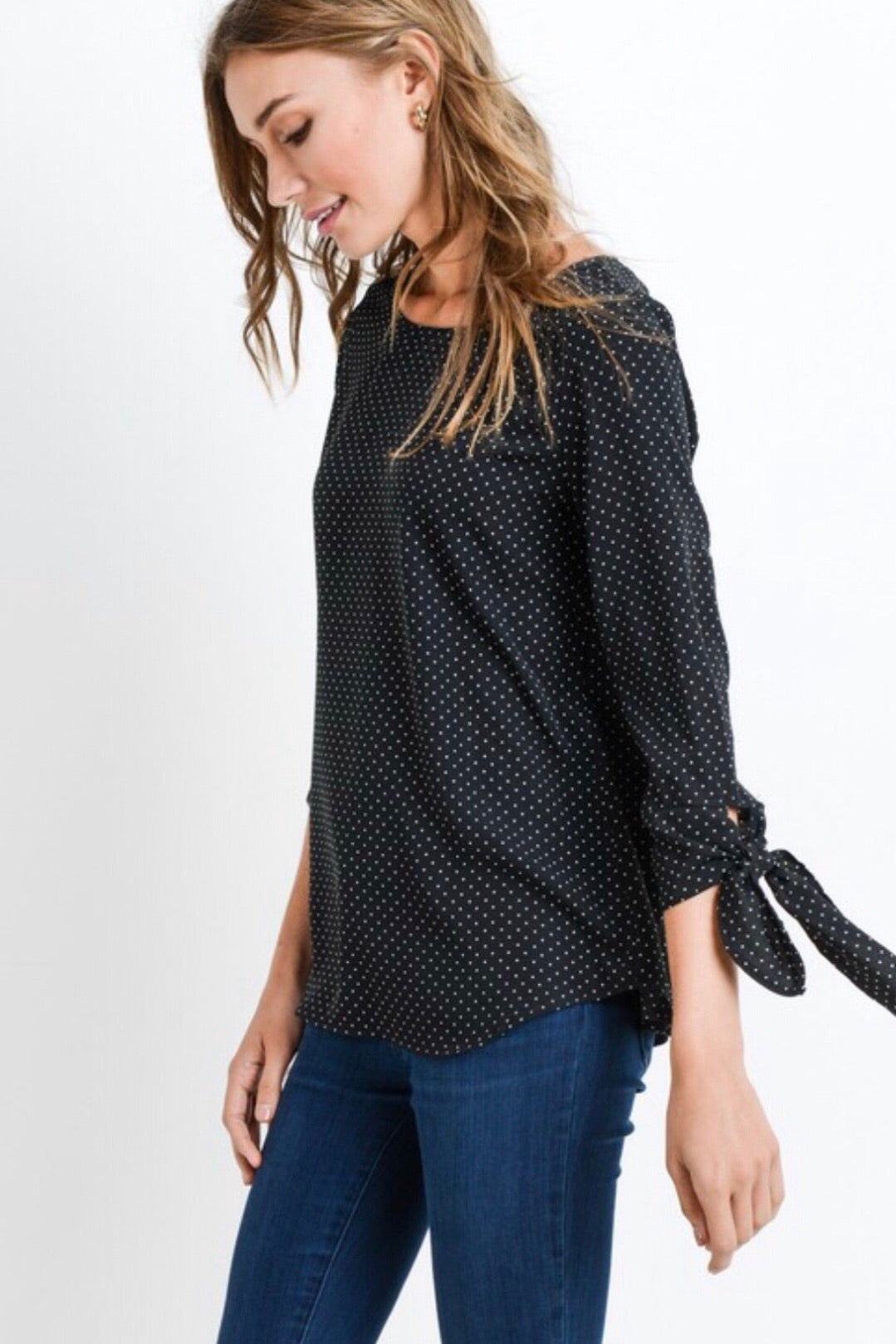 Polka Dot Top with Tie Sleeves