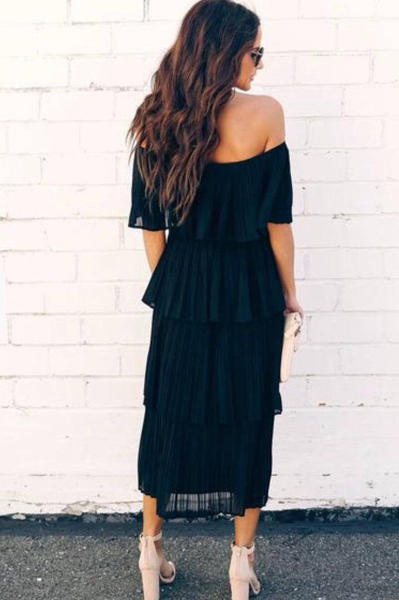 Tiered Pleated Midi Dress