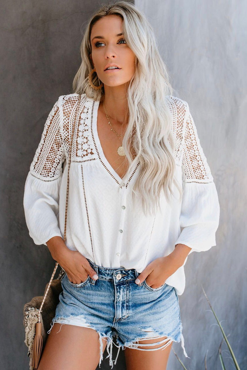 Crochet Lace Button Down Top
