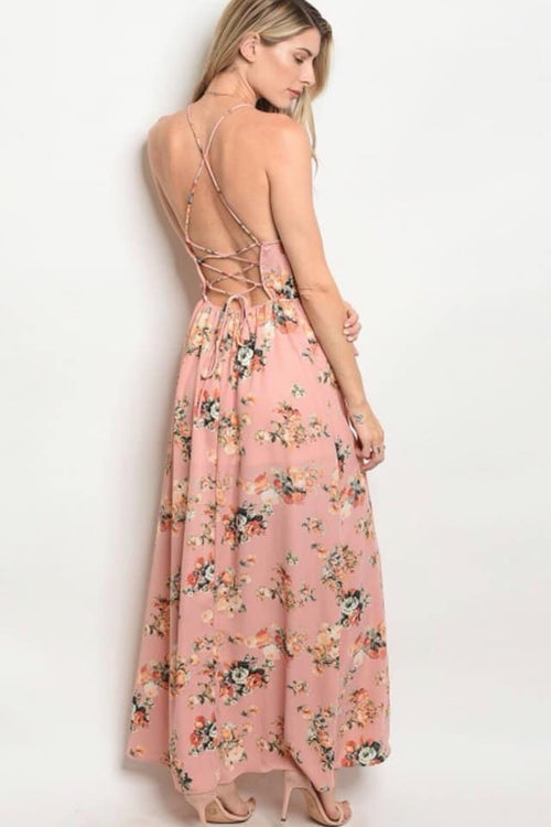 Open Lace Up Back Maxi Dress