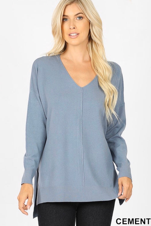 Reversed V-Neck Seam Soft Sweater Top