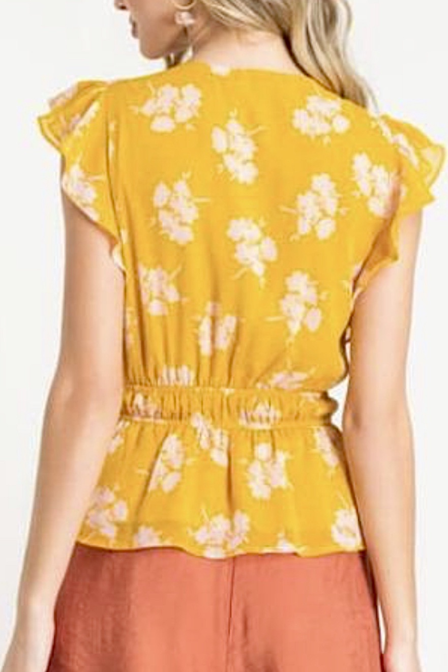 Printed Ruffle Floral Top