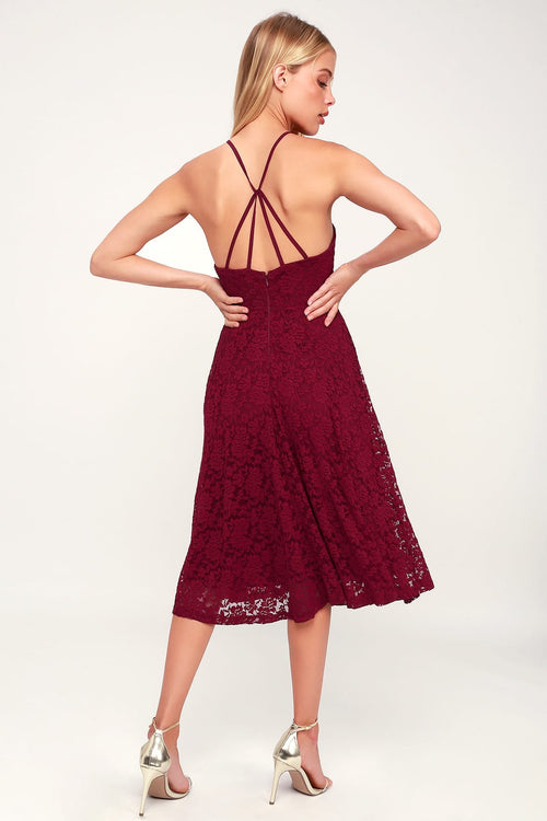 Lace Midi Halter Dress
