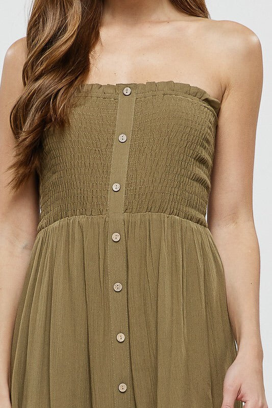 Smocked Strapless Dress With Buttons