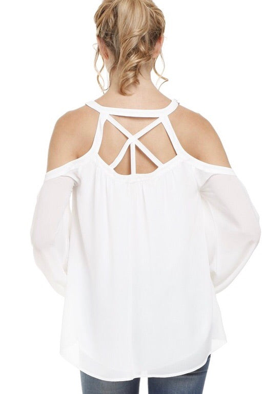 Cold Shoulder Sheer Long Sleeve Blouse