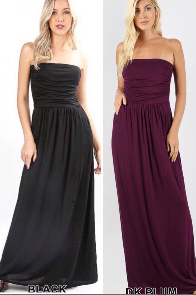 Strapless Pocketed Maxi Dress