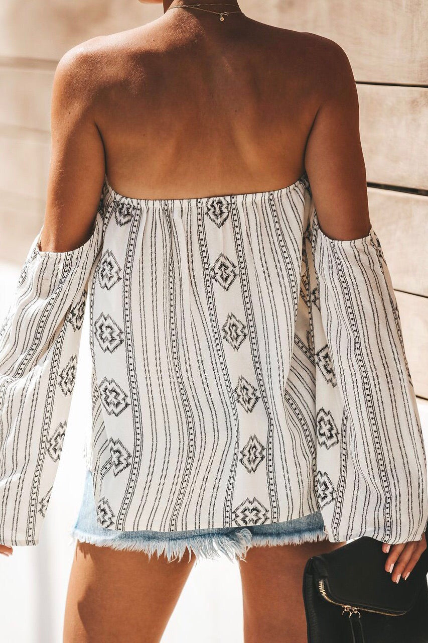 Off Shoulder Cross Print Top
