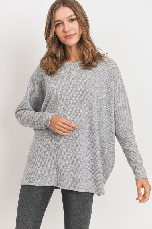 Round Neck Brushed Mini Thermal Knit Top