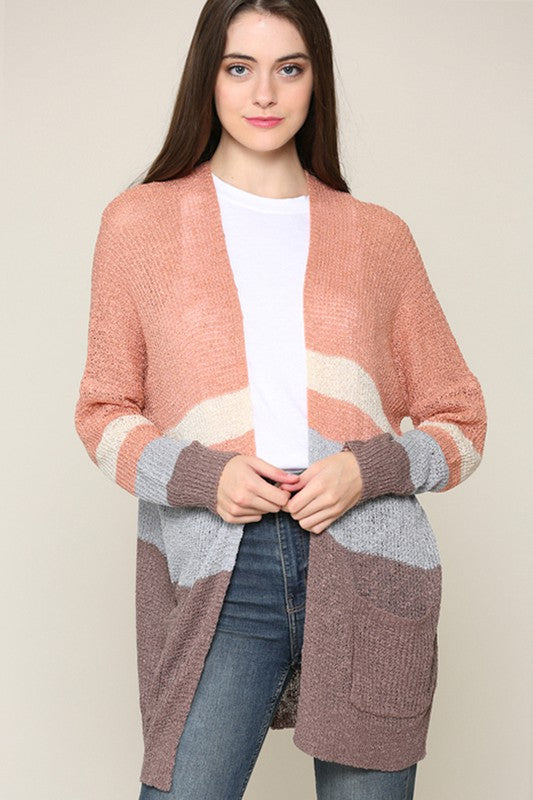 Soft Knit Color Block Cardigan