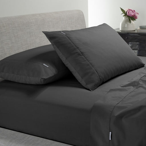 Heston 300 Thread Count Cotton Percale Charcoal Sheet Set by Bianca