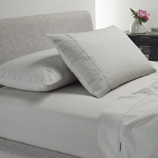 Heston 300 TC Cotton Percale Sheet Set Silver by Bianca