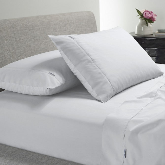 Heston 300 Thread Count Cotton Percale White Sheet Set by Bianca