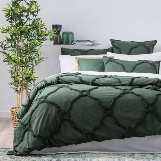Moroccan LEAF Cotton Chenille Quilt Cover Set by Renee Taylor