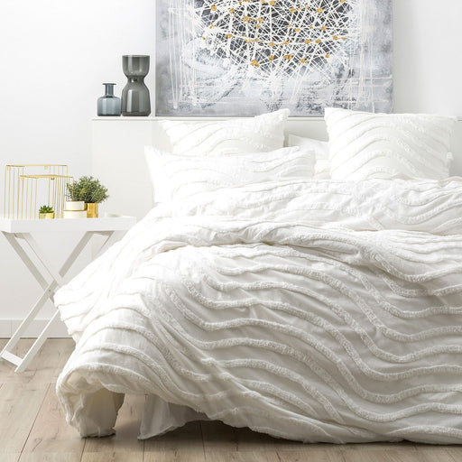 White Wave Cotton Quilt Cover Set by Cloud Linenv