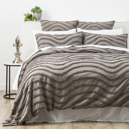 Grey Wave Cotton Quilt Cover Set by Cloud Linen