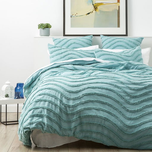 Aqua Wave Cotton Quilt Cover Set by Cloud Linen