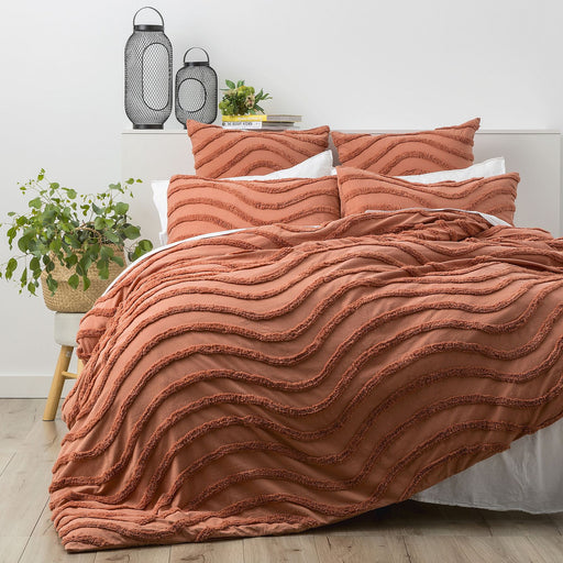 Rust Wave Cotton Quilt Cover Set by Cloud Linen