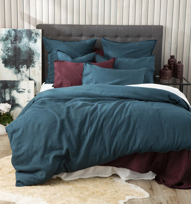 Renee Taylor Cavallo Stone Washed 100% Linen Quilt Cover Set Evergreen