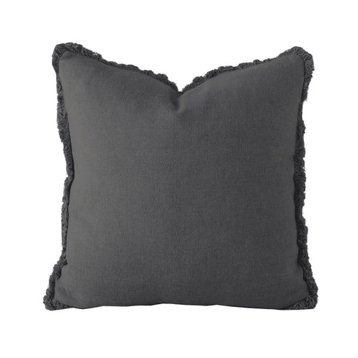 Linen Cushion - Square - Charcoal by Bambury