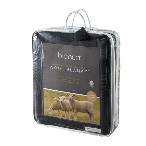 Australian Wool Blanket 480gsm Charcoal by bianca