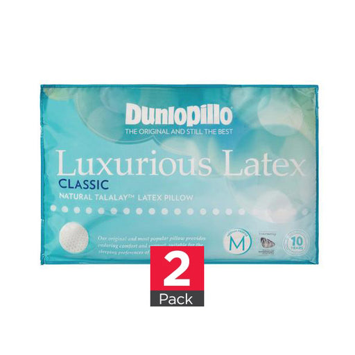 Dunlopillo Classic 2 Pack Genuine Luxurious Talalay Latex Medium Profile & Feel Pillows